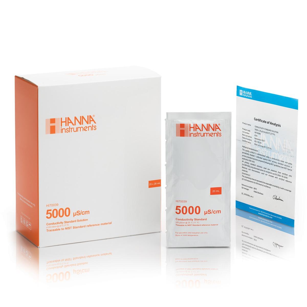 HI70039C 5000 µS/cm EC (25 x 20 mL) sachets with certificate of analysis