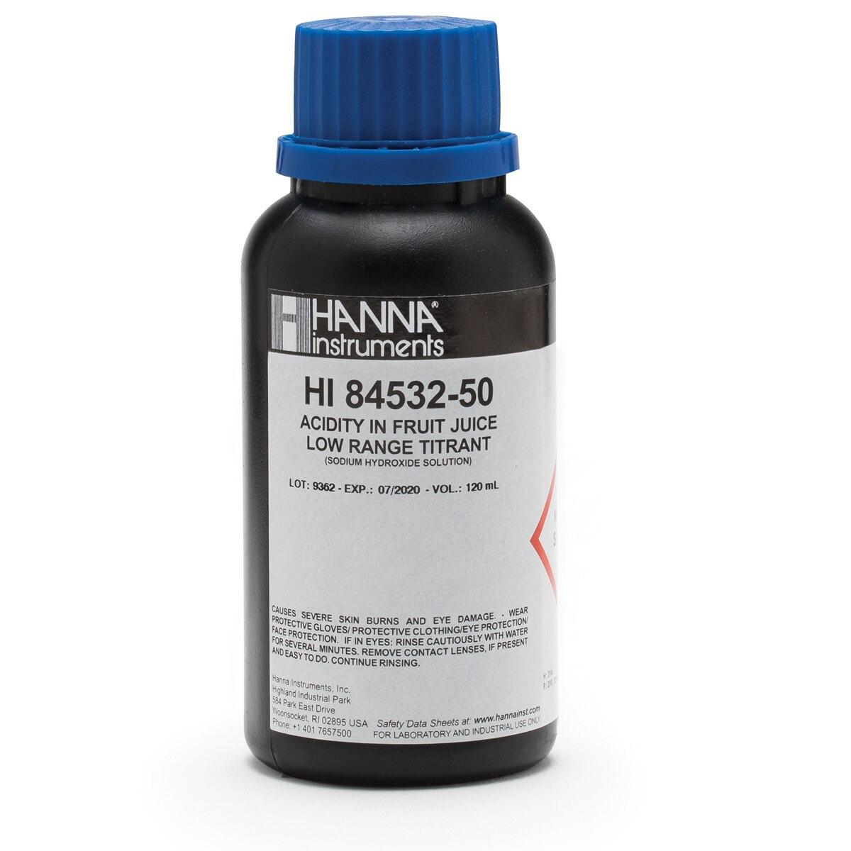 HI84532-50 Total Acidity in Fruit Juice Low Range Titrant (120 mL)